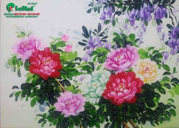 tranh son dau hoa mau don 61