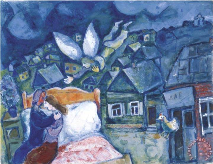 The Dream 1939 Painting by Marc Chagall; The Dream 1939 Art Print for sale